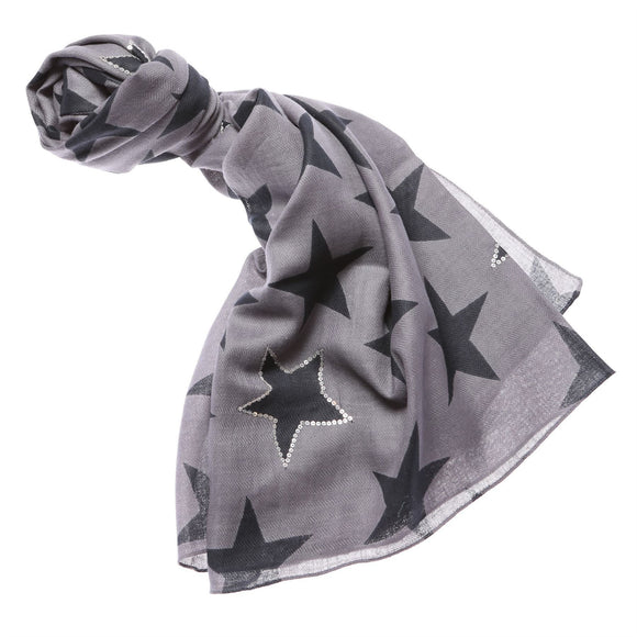 Ladies Grey Starburst Design Scarf - Caths Direct