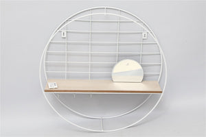 Round White Metal Shelf Unit with Mirror - Caths Direct