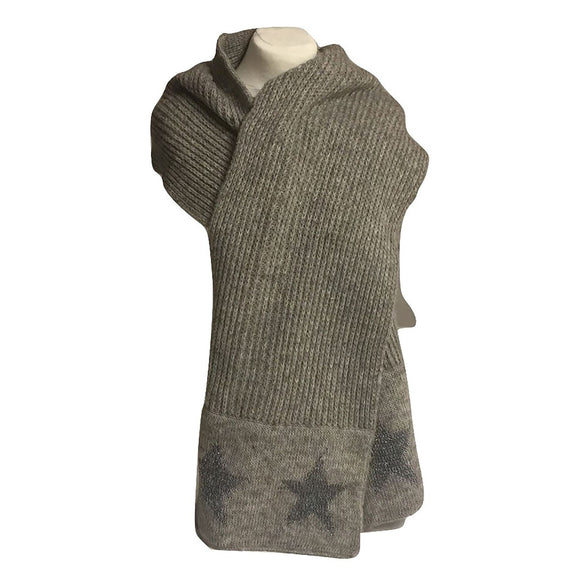 Grey Knitted Scarf Starburst Design - Caths Direct