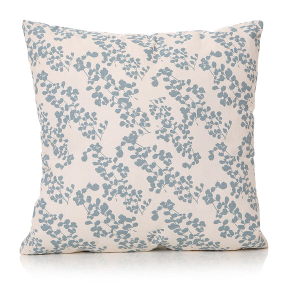 Prairie Square Cushion Light Blue Leaf