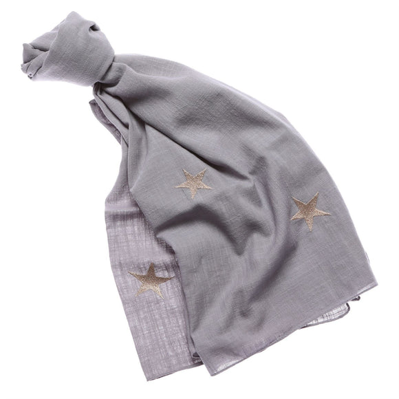 Ladies Grey Scarf with Gold Stars Design - Caths Direct
