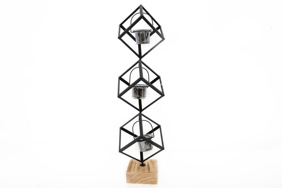 Three Tier Cube Design Candle Holder - Caths Direct