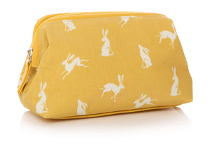 Small Cosmetic Bag RSPCA Spring Hare Design Mustard Yellow