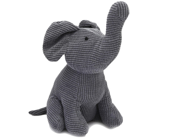 Fabric Elephant Doorstop Grey/Blue Cord