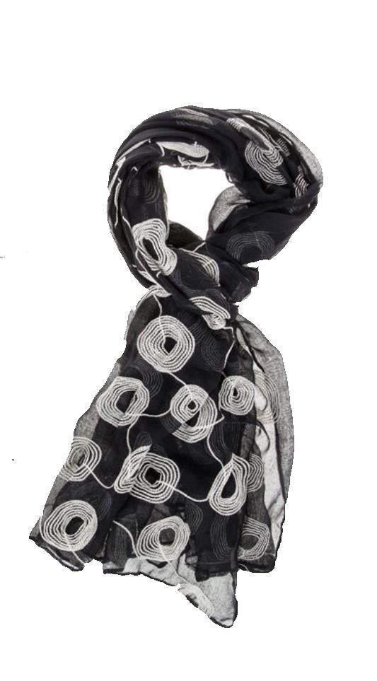 Ladies Embroidered Circles Black Scarf