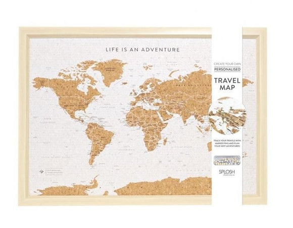 Framed Beige Travel Board Small World Map with Pins - Caths Direct