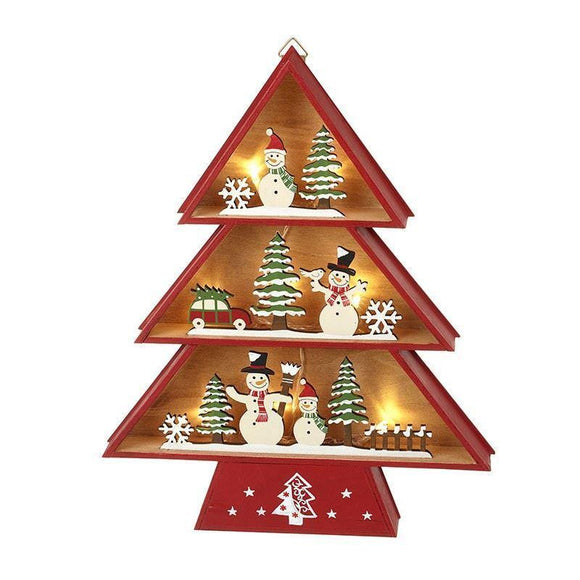 Light Up Christmas Tree with Snowmen - Caths Direct