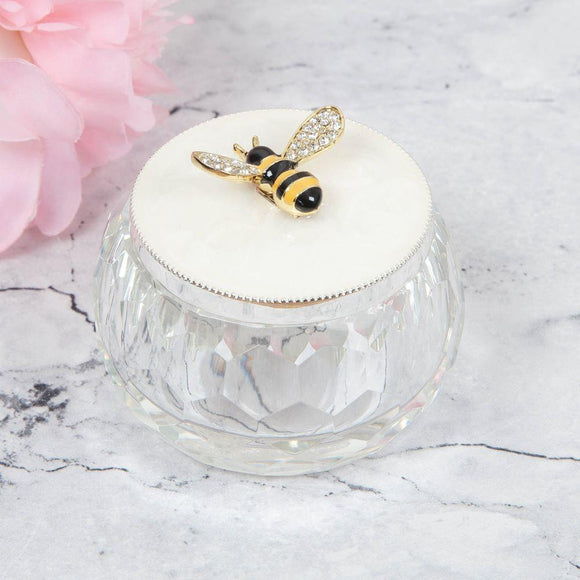 Bumble Bee Pearlescent Lid Glass Trinket Box - Caths Direct