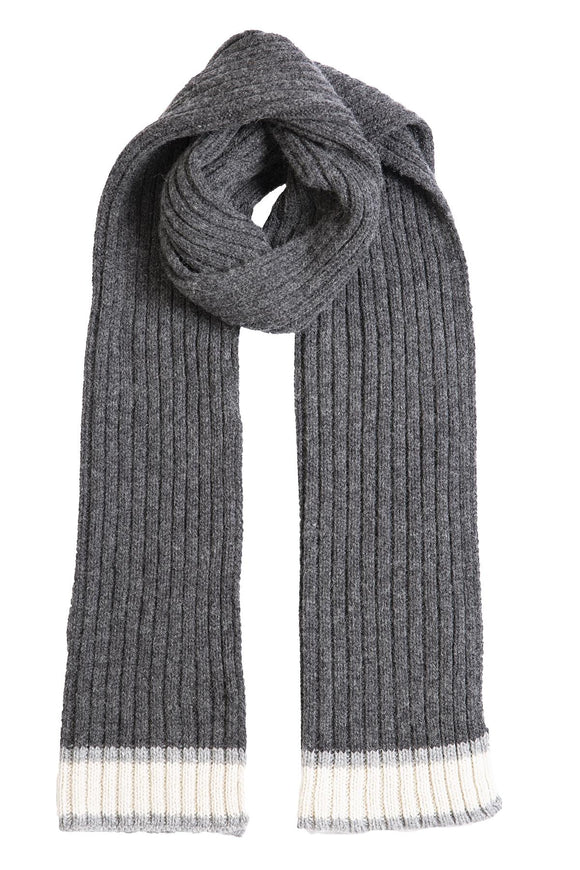 Dents Men's Knitted Scarf with Stripe Charcoal Grey - Caths Direct