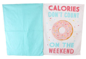 Heart Of The Home Set Of 2 White & Teal Tea Towels - Caths Direct
