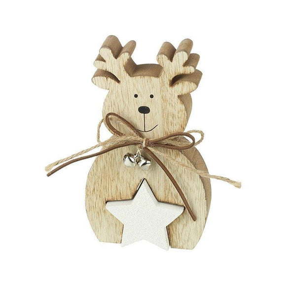 Wooden Reindeer & Star Ornament