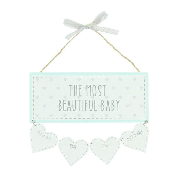 Beautiful Baby Wall Plaque with Birth Data Hearts - Caths Direct