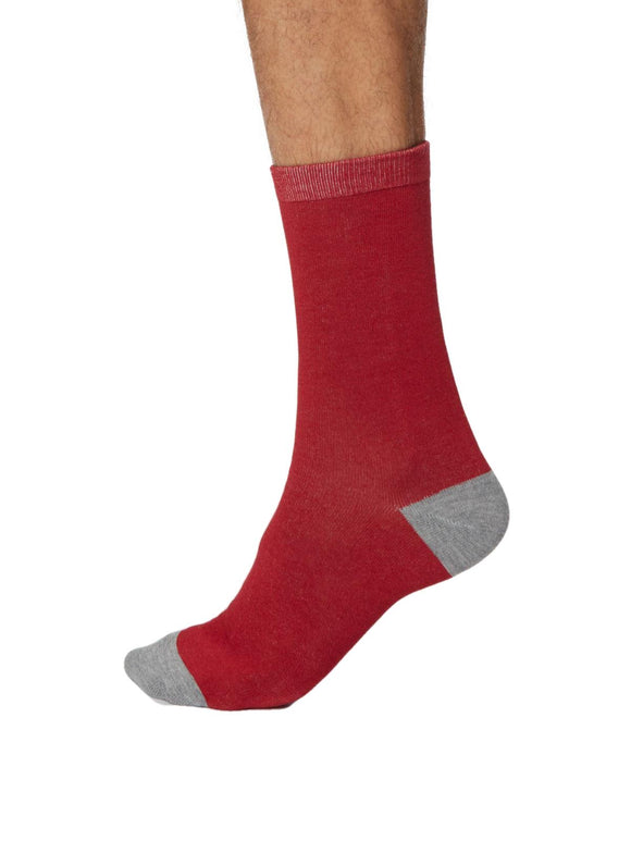 Mens Soft Bamboo Solid Jack Socks Size 7-11 Berry Red by Thought Socks - Caths Direct