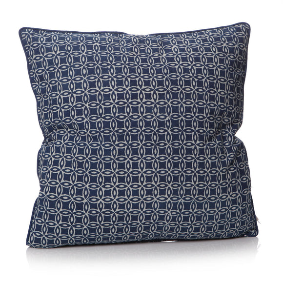 Indigo Ink Dyed Blue Lattice Design Square Cushion