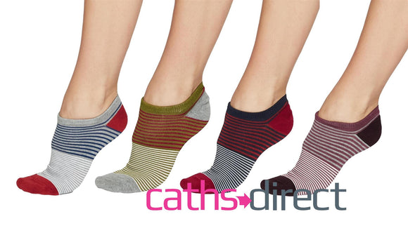 Ladies Soft Bamboo Agnes Stripe Trainer Socks Size 4-7 by Thought - Caths Direct