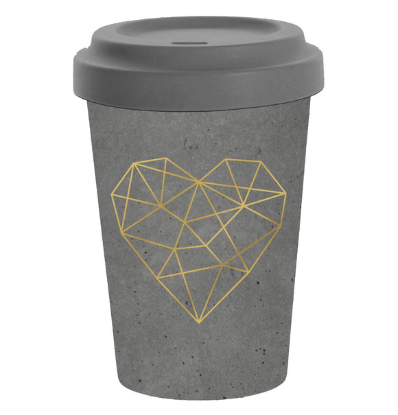 Geometric Heart Cement Grey Design Bamboo Travel Mug - Caths Direct