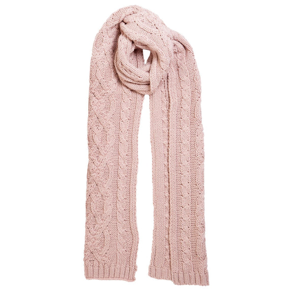 Dents Pink Cable Knit Scarf with Metallic Yarn - Caths Direct