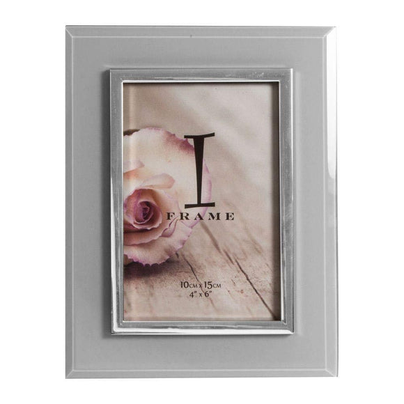 Grey & Silver Glass Photo Frame 4 x 6 - Caths Direct