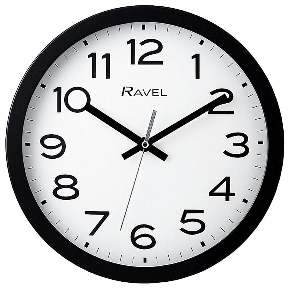 Ravel Modern Kitchen Wall Clock Black 25cm - Caths Direct