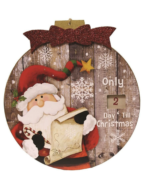 Wooden Advent Plaque Santa - Caths Direct