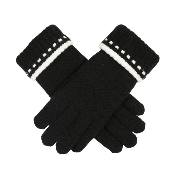 Dents Ladies Knitted Touchscreen Gloves with Folded Cuff Black & Ivory