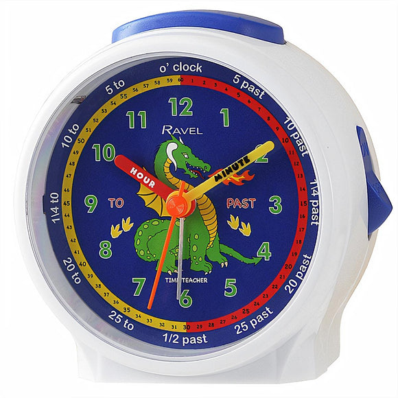 Ravel Kids Time Teacher Alarm Clock White with Blue Dinosaur Dial - Caths Direct