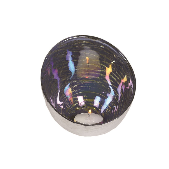 Lustre Silver Effect Dome Tea Light Candle Holder