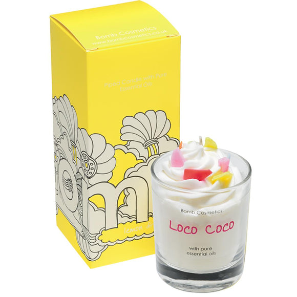Bomb Cosmetics Loco Coco Piped Scented Glass Candle - Caths Direct