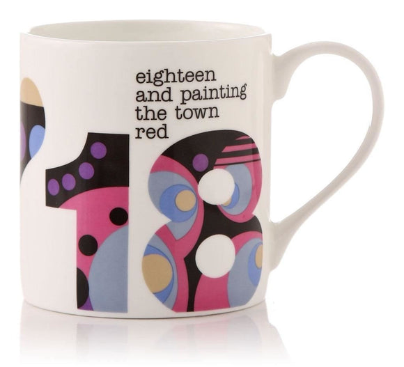 18th Birthday Bone China Gift Mug Eighteen