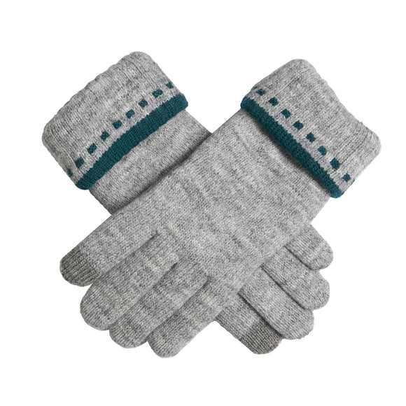 Dents Ladies Touchscreen Knitted Gloves with Folded Cuff Grey/Petrol