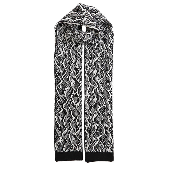 Dents Black & Winter White Knitted Lizard Pattern Scarf - Caths Direct