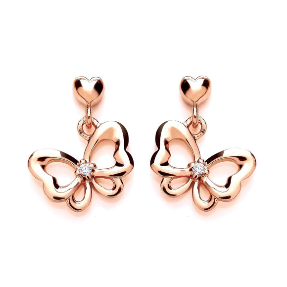 Rose Gold CZ Bow Earrings - Caths Direct