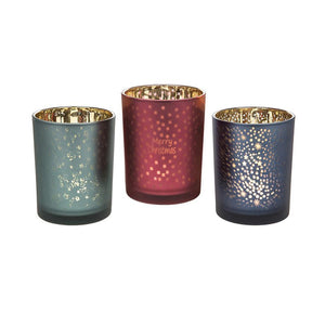 Christmas Glow Tea Light Candle Holder 3 Colours - Caths Direct
