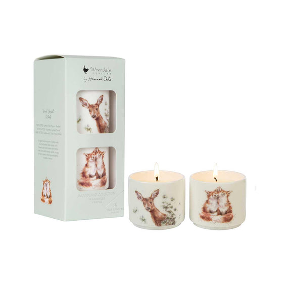 Wrendale Illustration Ceramic Candles Gift Set Woodland Animals - Caths Direct