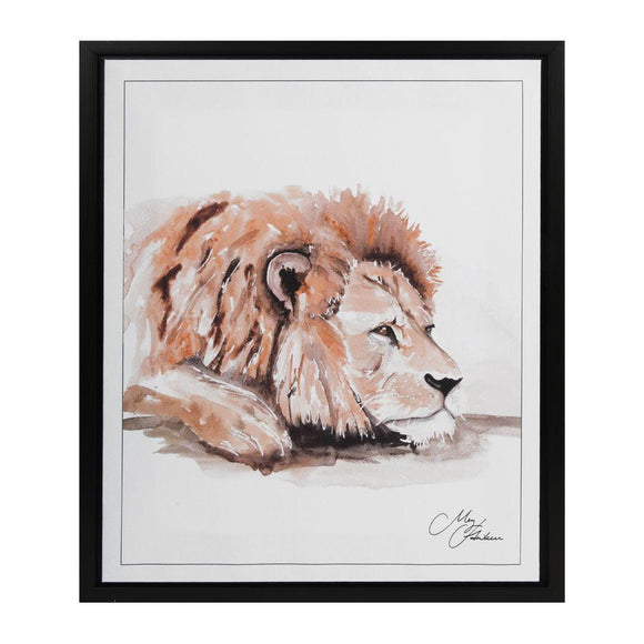 Naturecraft Meg Hawkins Lion Framed Picture Canvas - Caths Direct