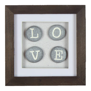 Square Boxed Frame Wall Plaque LOVE Stones - Caths Direct