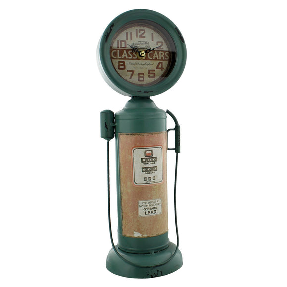 Metal Mantel Clock Gas Pump Design