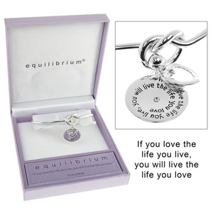 Equilibrium Love Life Message Silver Plated Bangle - Caths Direct