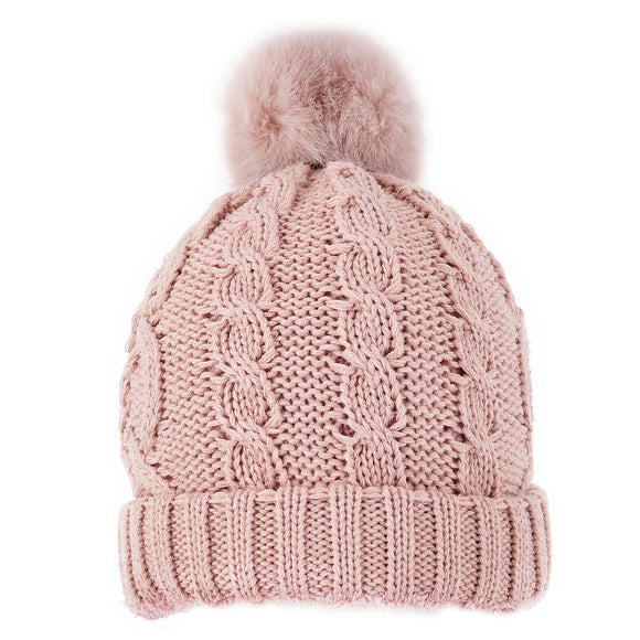Dents Pink with Metallic Cable Knit Pom Pom Hat - Caths Direct