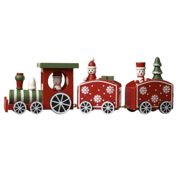 Festive Wooden Train With 2 Carriages - Caths Direct