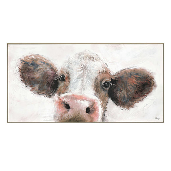 Jethro the Cow Wrapped Framed Canvas Print Picture 102cm wide - Caths Direct