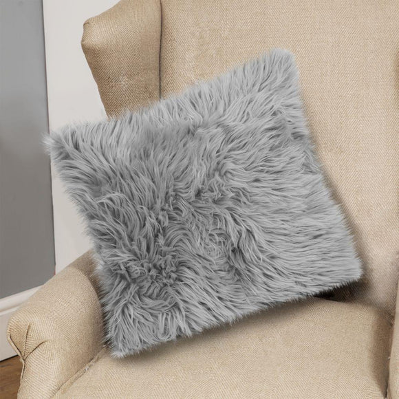Grey Faux Fur Square Cushion 45 x 45cm - Caths Direct