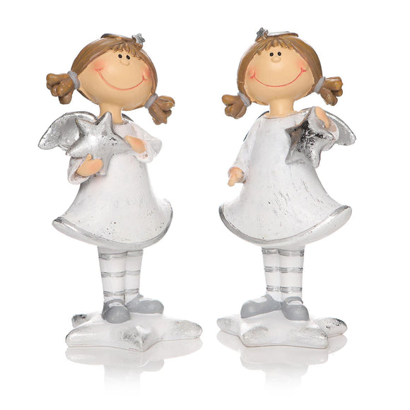 Christmas Angel Figurines Holding Silver Colour Stars Set of 2 - Caths Direct