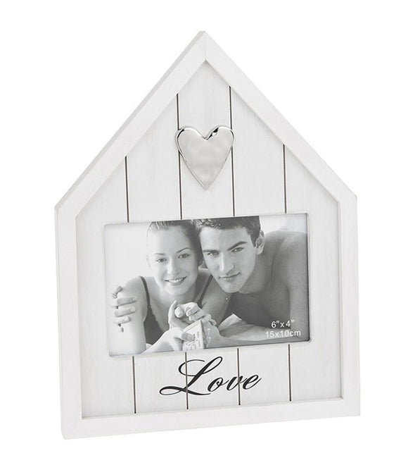 Happy House Love White Wooden Photo Frame - Caths Direct