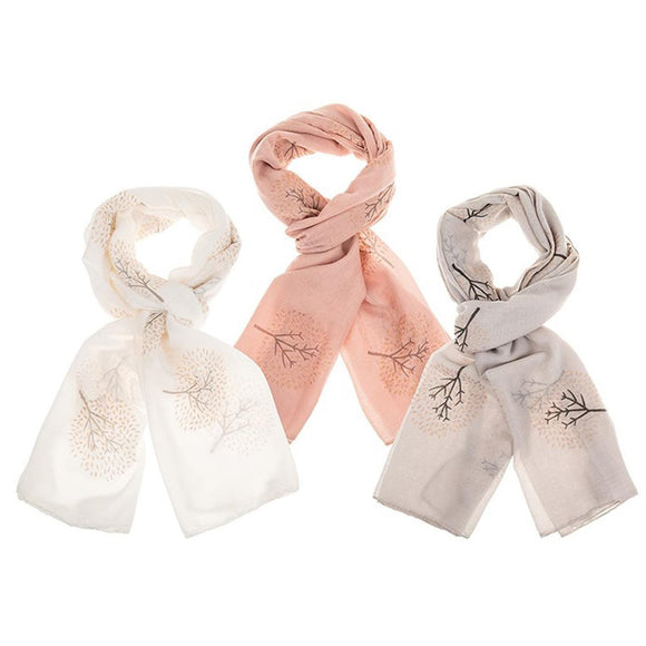 Ladies Rose Gold Glitter Tree Design Scarf White, Pink or Grey - Caths Direct