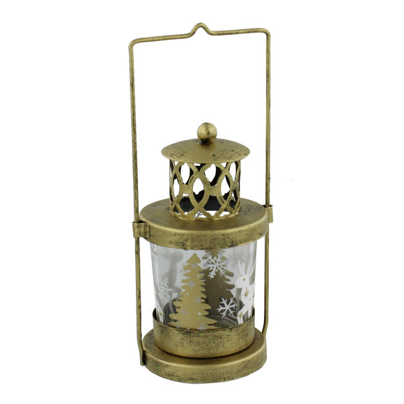 Gold Effect Metal & Glass Christmas Tea Light Candle Lantern - Caths Direct