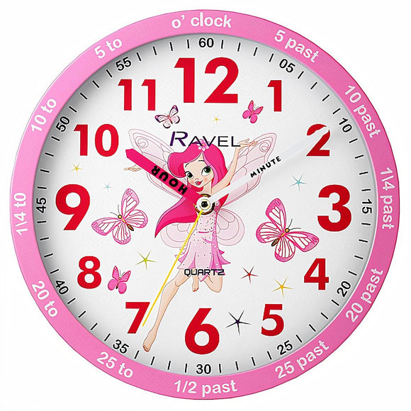 Ravel Kids Fairy Dial Time Teacher Wall Clock Pink 25cm - Caths Direct