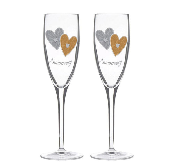 Anniversary Champagne Flute Glasses Pair - Caths Direct
