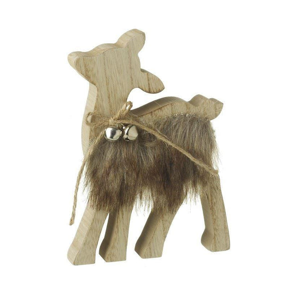 Wooden Deer With Fur Body Christmas Decoration - Caths Direct