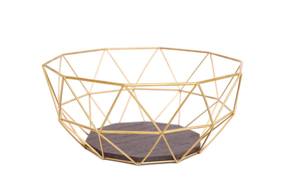 Geometric Design Gold Colour Wire Bowl - Caths Direct